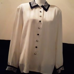 By Che Studio: black and white blouse
